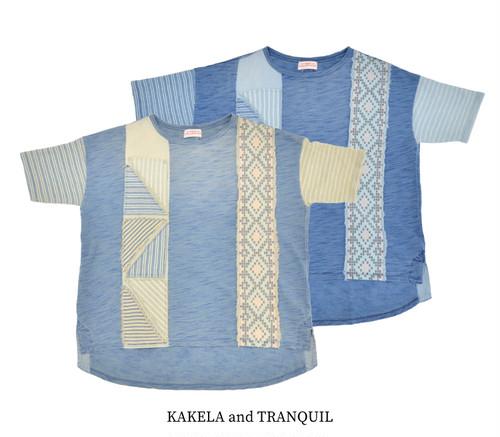 【KAKELA and TRANQUIL】インディゴ天竺リメイクルーズT