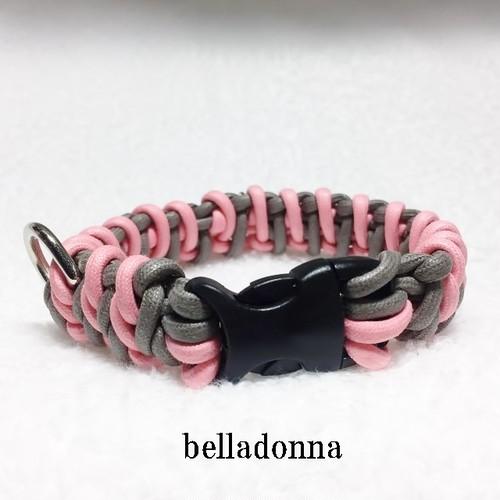 ピンクとグレーのマクラメ編み綿ロープ首輪