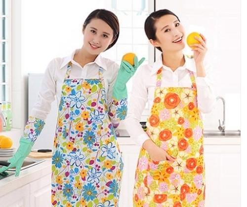 ohab 002nkps キッチンエプロン かわいい防水抗油 家庭用 エプロン女性用 ピンクの花
