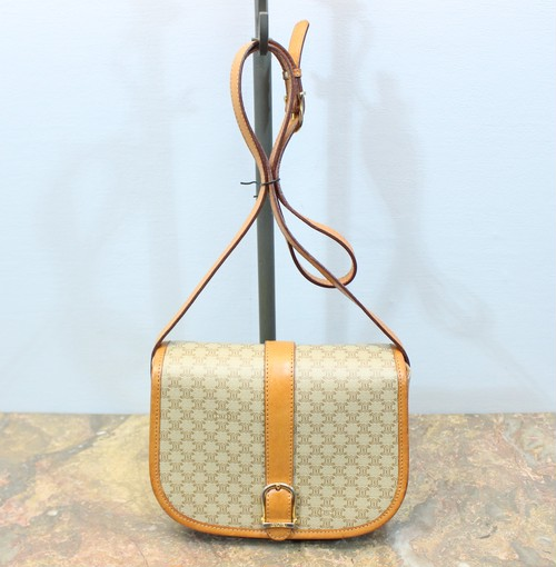 2000000028255 OLD CELINE MACADAM PATTERNED BELTED SHOULDER BAG MADE IN ITALY/オールドセリーヌマカダム柄ベルテッドショルダーバッグ