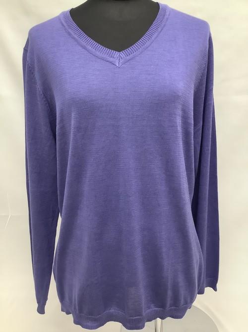 シルク100% Vネックセーター 青紫