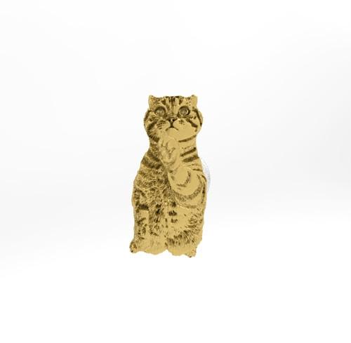 ティノ HOKUSHIN 両腕カフスボタン シルバー925 14Kゴールド 猫 ねこ ネコ