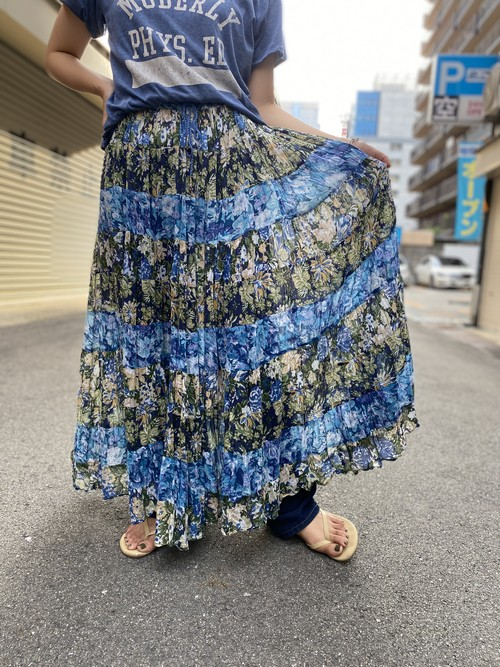 Indian cotton skirt blue