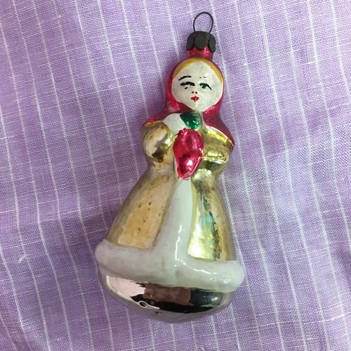 ヴィンテージ  ソビエト ガラスオーナメント クリスマスカラーの女の子