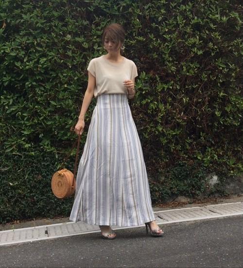 καy☺(@shiruju.k)コラボ マルチストライプマキシスカート