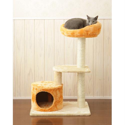 ふわふわのオレンジベットが可愛いキャットタワー/コンパクトねこタワー/ベットとハウス付/Mau/クロワッサン