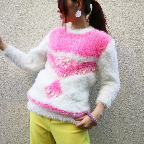 Euro shaggy knit sweater【White × pink】