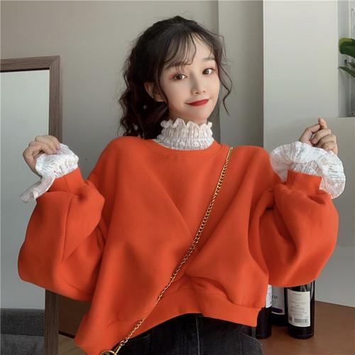 【セットアップ】ファッションランタンスリーブパーカー+レーススピーカースリーブハイネックシャツ