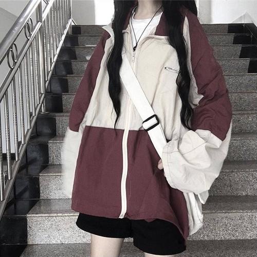 カレッジ風オシャレトレンドバイカラースプライスゆったりジャケット