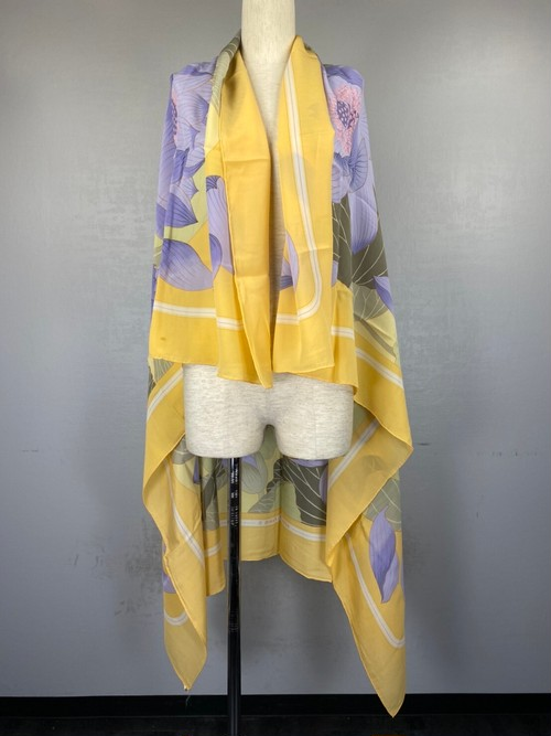 .HERMES CARRES140 LARGE SIZE SILK 100% SCARF FLEURS DE LOTUS MADE IN FRANCE/エルメスカレ140蓮の花シルク100%大判ショール 2000000043159