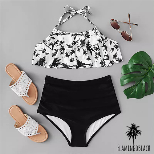 【FlamingoBeach】palmtree high west bikini ハイウェストビキニ