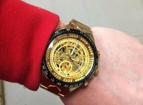 大人の男を演出する メンズ腕時計 ステンレスベルト アンティーク スケルトン 自動巻き 機械式時計 プレゼント ギフト BOX付