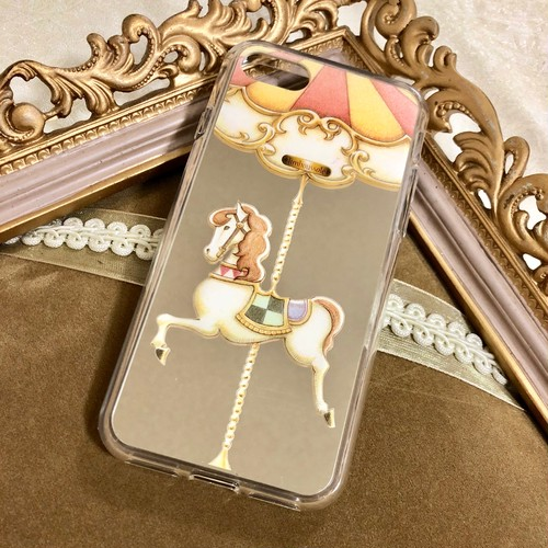 [iPhone7/8/7Plus/8Plus/X/XS受注生産]【ゴールドミラー】カルーセル柄スマホケース