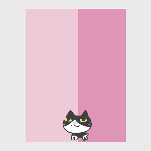猫ピンクハーフハーフ ぬくぬく布