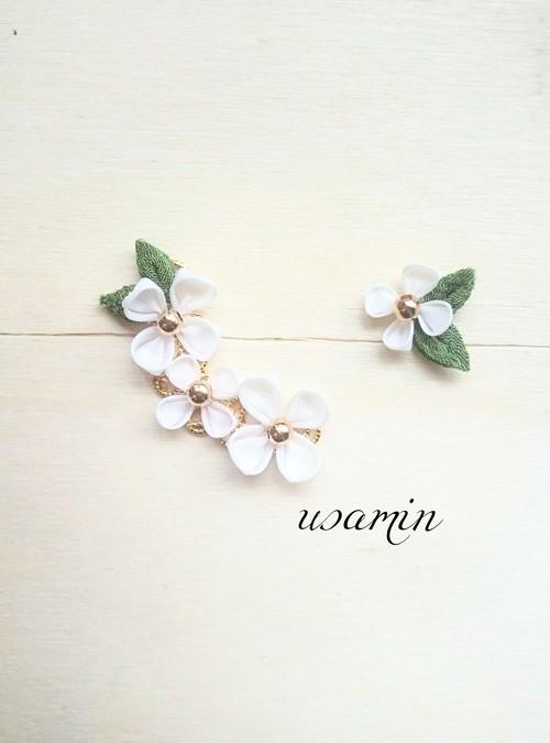 つまみ細工〜白いお花のピアスorイヤリング〜