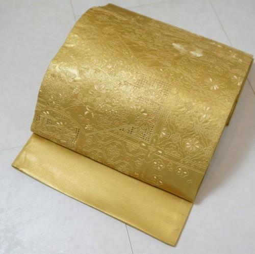 汕頭 相良 蘇州刺繍 中国三大刺繍 袋帯 正絹 ゴールド 210