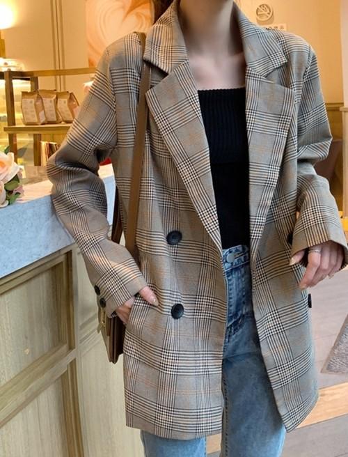 予約注文商品 チェックダブルジャケット ジャケット ダブルジャケット 韓国ファッション