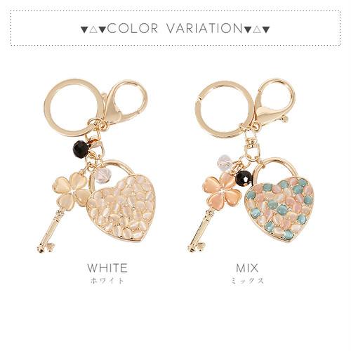 【キー】全2色!キャッツアイハート&クローバーデザインバッグチャーム