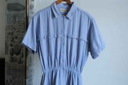 80's L.L.Bean waffle gauze shirt Dress