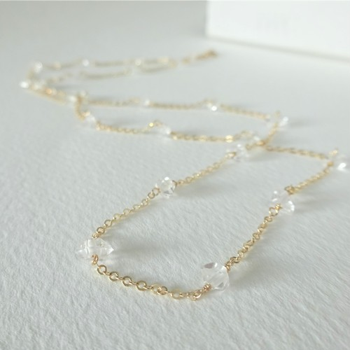 送料無料 14kgf*AAA Herkimerdiamond rough rock station necklace