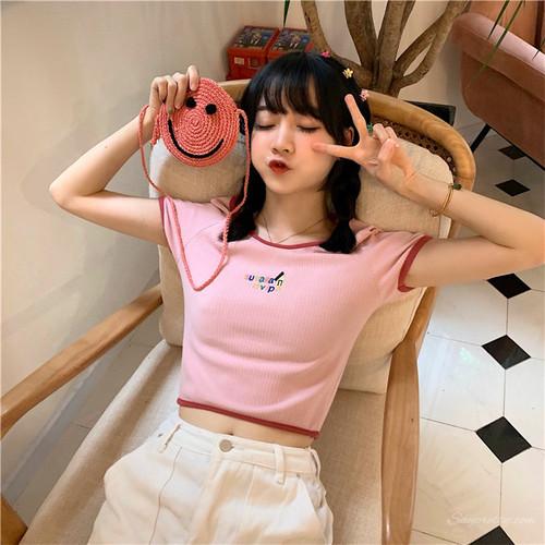【トップス】スウィート韓国系春夏カジュアル清新フェミニン刺繍ショート丈半袖Tシャツ
