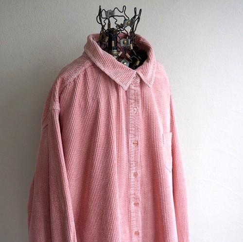 2000's [MAINSTREET BLUES] 太畝 コーデュロイシャツ ベビーピンク 表記(women's 3X) ビッグサイズ