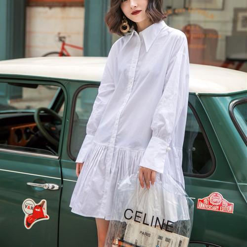 シャツワンピ―ス ミニ 長袖 プリーツ ゆったり レディース ファッション ガーリー カジュアル ナチュラル シンプル(A767)