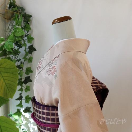 【T様ご予約品】正絹 浪花鼠に花の小紋 袷
