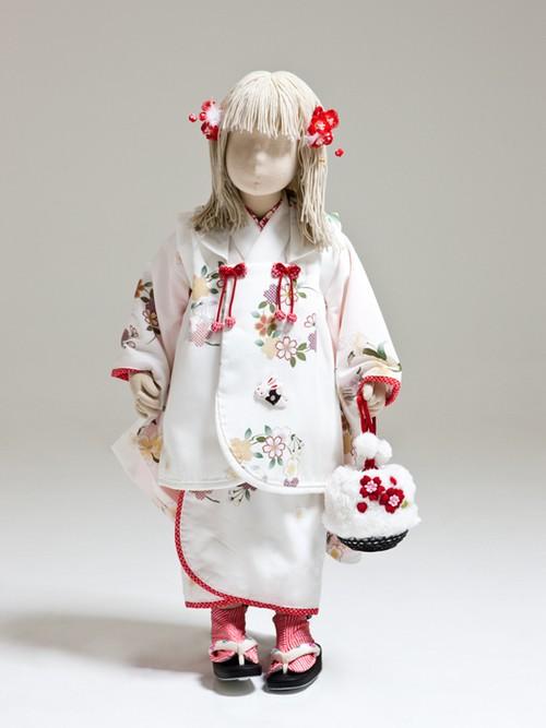 【3歳女児】七五三<レンタル> 白着物・白被布セット うさぎと花輪