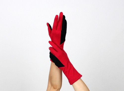 % PERCENT ジャージー 手袋(レッド・ブラック)女性用・ウール100%・スマホ対応・縫製手袋