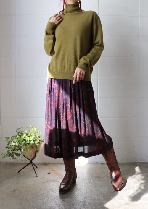 burgundy paisley pleated skirt