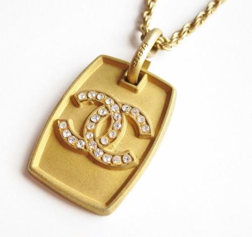 CHANEL VINTAGE(シャネル ヴィンテージ)COCO ストーン プレート ネックレス ゴールド