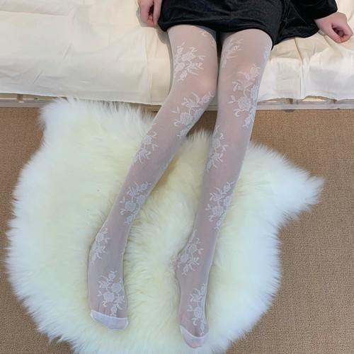 フラワー刺繍シアータイツ2色セット ・12183