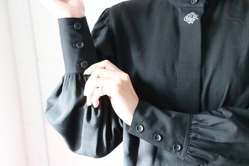 Christian Dior stand-up collar blouse