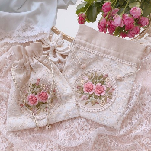 Rose Embroidery ♡ mini Pouch