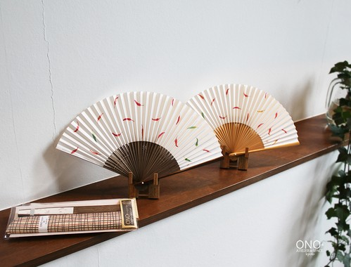 ONO*オリジナル扇子 唐辛子(差し袋セット)送料無料