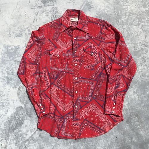 70's REMUDA ウェスタンシャツ バンダナ柄 ペイズリー 長袖 赤 レッド M ヴィンテージ 美品