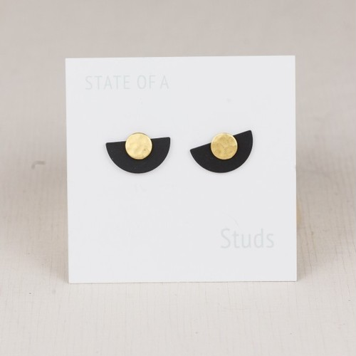 ◇STATE OF A◇ Studs Semi Circle Black & Gold 2 in 1(Item No 10443)