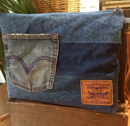 denim patchworkクラッチ☆