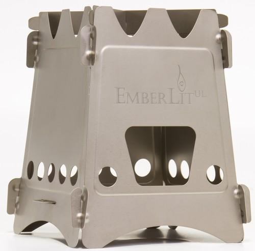 New Emberlit stove-UL titanium(エンバーリット ストーブ ウルトラライト 純チタン製)クロスバー及びストーブ収納袋付属 。