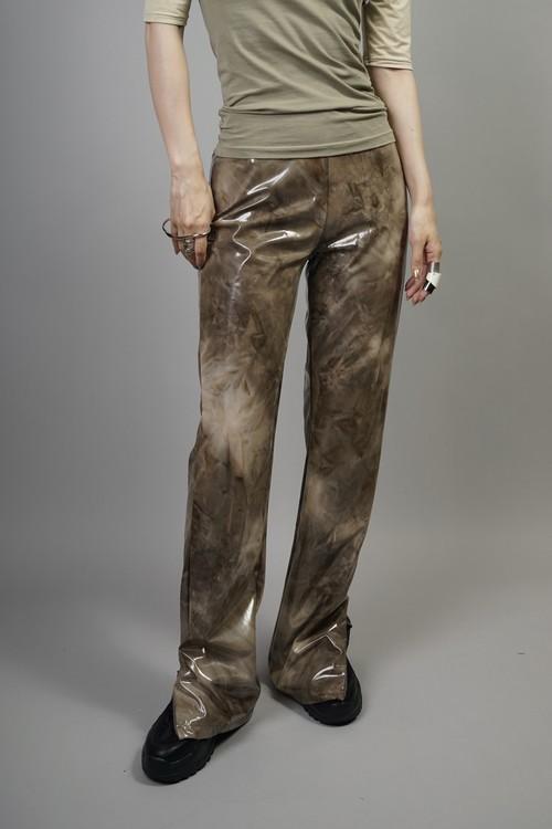 TIE DYE ENAMEL ZIP SLIT PANTS  (BROWN) 2107-85-7