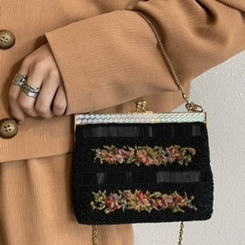 (LOOK) flower embroidery beads bag