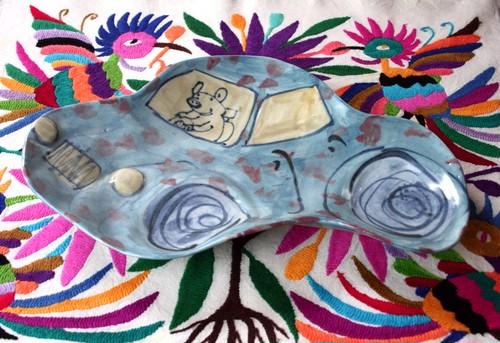 豚のプレート皿 /磁器 /可愛い子ども食器 /キッズ食器 /陶芸家 /pottery