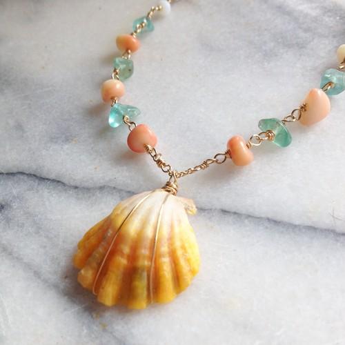 Sunrise Shell* *Gem Stone Necklace