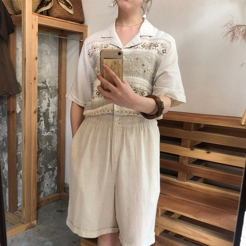 organic linen embroidery playsuit