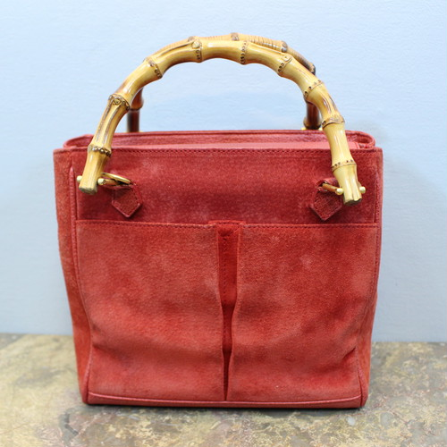 2000000026978 GUCCI BAMBOO LEATHER HAND BAG MADE IN ITALYグッチバンブーレザーハンドバッグ