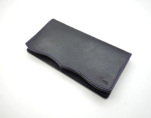 ビジネスロングウォレット【革:黒 糸:紫】