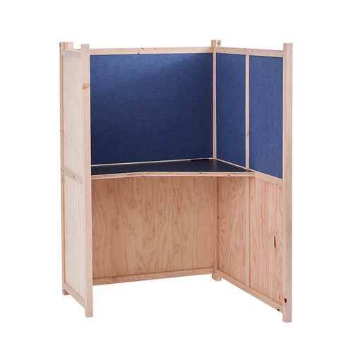 木製パーソナルブース・吸音パネル付・ブルー