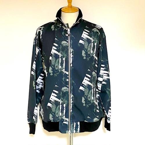 Monotone Geometric Pattern Stand Full Zip Jacket Jersey Black