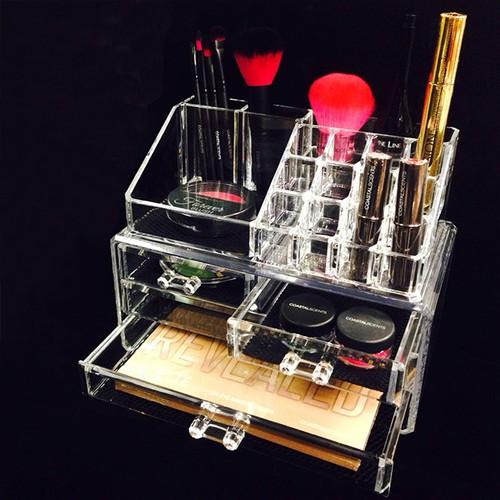 アクリル コスメティック ディスプレイ ボックス 2ピースセット (化粧品・アクセサリーボックス) NL-COMS2915 (NL-COM029_COM015)